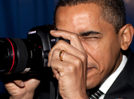 Barack Obama using a Canon Camera